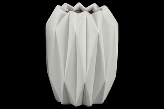 UTC21415 Ceramic Round Tall Vase with Uneven Lip and Ribbed Body Design Matte Finish White