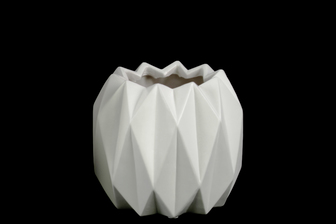 UTC21416 Ceramic Round Short Vase with Uneven Lip and Ribbed Body Design Matte Finish White