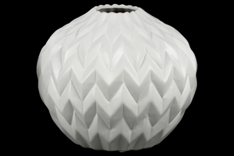 UTC21417 Ceramic Round Low Vase with Round Lip and Embossed Wave Design Matte Finish White