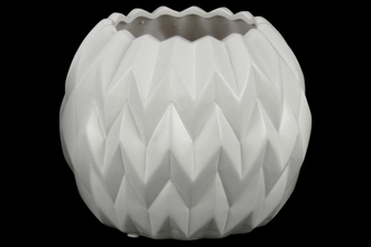 UTC21418 Ceramic Round Low Vase with Uneven Lip and Embossed Wave Design LG Matte Finish White