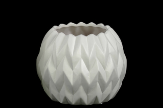 UTC21419 Ceramic Round Low Vase with Uneven Lip and Embossed Wave Design SM Matte Finish White