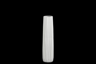UTC21421 Ceramic Elongated Round Vase with Round Lip and Ribbed Design Body MD Matte Finish White