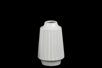 UTC21424 Ceramic Round Vase with Round Lip, Ribbed Design Body and Tapered Bottom SM Matte Finish White