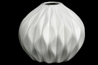 UTC21425 Ceramic Round Low Vase with Round and Small Lip, and Embossed Wave Design Matte Finish White