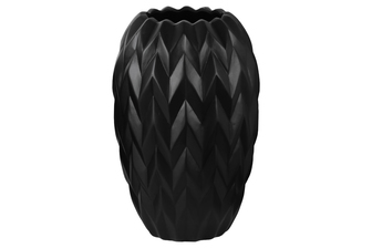 UTC21426 Ceramic Round Vase with Round Lip, Embossed Wave Design and Rounded Bottom LG Gloss Finish Black