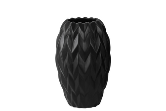 UTC21427 Ceramic Round Vase with Round Lip, Embossed Wave Design and Rounded Bottom SM Gloss Finish Black