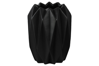 UTC21430 Ceramic Round Tall Vase with Uneven Lip and Ribbed Body Design Matte Finish Black