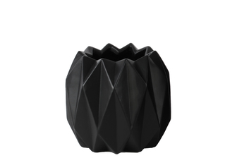 UTC21431 Ceramic Round Short Vase with Uneven Lip and Ribbed Body Design Matte Finish Black