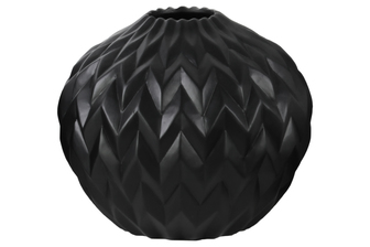 UTC21432 Ceramic Round Low Vase with Round Lip and Embossed Wave Design Matte Finish Black