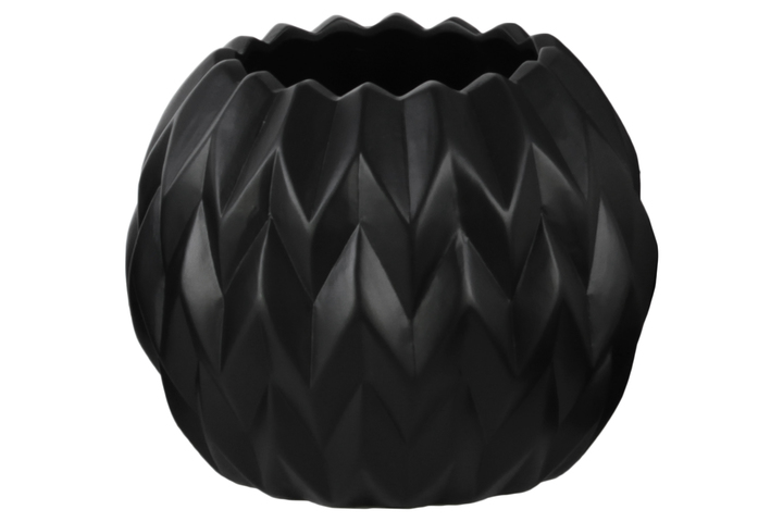 UTC21433 Ceramic Round Low Vase with Uneven Lip and Embossed Wave Design LG Matte Finish Black