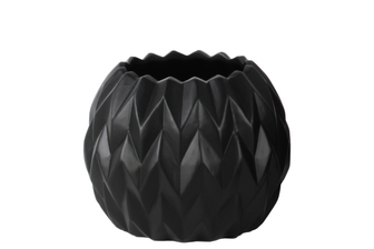 UTC21434 Ceramic Round Low Vase with Uneven Lip and Embossed Wave Design SM Matte Finish Black