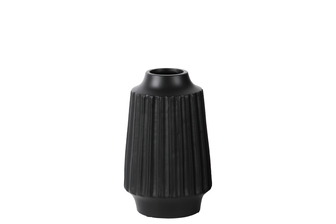 UTC21439 Ceramic Round Vase with Round Lip, Ribbed Design Body and Tapered Bottom SM Matte Finish Black