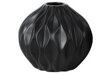 UTC21440 Ceramic Round Low Vase with Round and Small Lip, and Embossed Wave Design Matte Finish Black