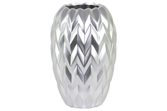 UTC21441 Ceramic Round Vase with Round Lip, Embossed Wave Design and Rounded Bottom LG Matte Finish Silver