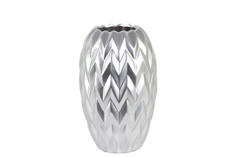 UTC21442 Ceramic Round Vase with Round Lip, Embossed Wave Design and Rounded Bottom SM Matte Finish Silver