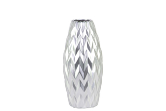 UTC21444 Ceramic Rounded Bellied Vase with Round Lip and Embossed Wave Design SM Matte Finish Silver