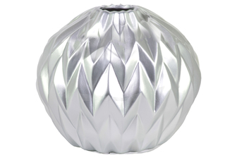 UTC21447 Ceramic Round Low Vase with Round Lip and Embossed Wave Design Matte Finish Silver