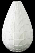 UTC21459 Ceramic Bellied Round Vase with Narrow Lips and Embossed Triangle Design Body Matte Finish White