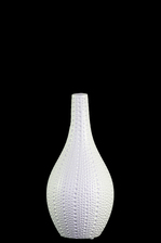 UTC21469 Ceramic Bellied Round Vase with Long Neck, Pimpled Design Body and Tapered Bottom SM Matte Finish White