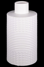 UTC21478 Ceramic Round Vase with Short Neck, Horizontal and Vertical Line Pattern and Cylindrical Body Matte Finish White