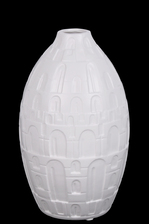 UTC21481 Ceramic Round Bellied Vase with Small Mouth, Engraved Lattice Oblong Design Body and Tapered Bottom SM Matte Finish White