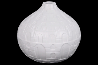 UTC21482 Ceramic Short Round Bellied Vase with Small Mouth, Engraved Lattice Oblong Design Body and Tapered Bottom Matte Finish White