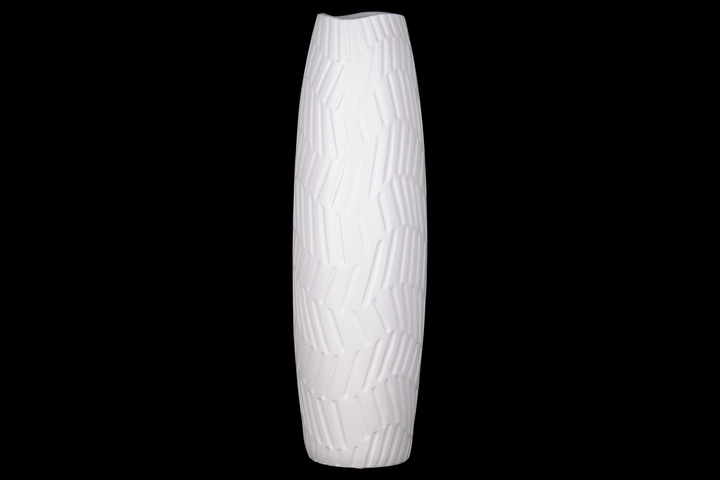 UTC21483 Ceramic Tall Round Vase with Engraved Wave Horizontal Line Pattern Design Body Coated Finish White