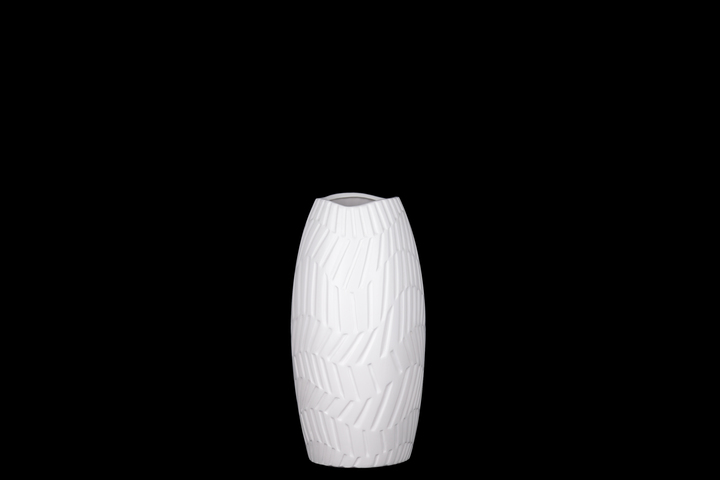 UTC21484 Ceramic Round Vase with Irregular Lip and Engraved Wave Horizontal Line Pattern Design Body Coated Finish White