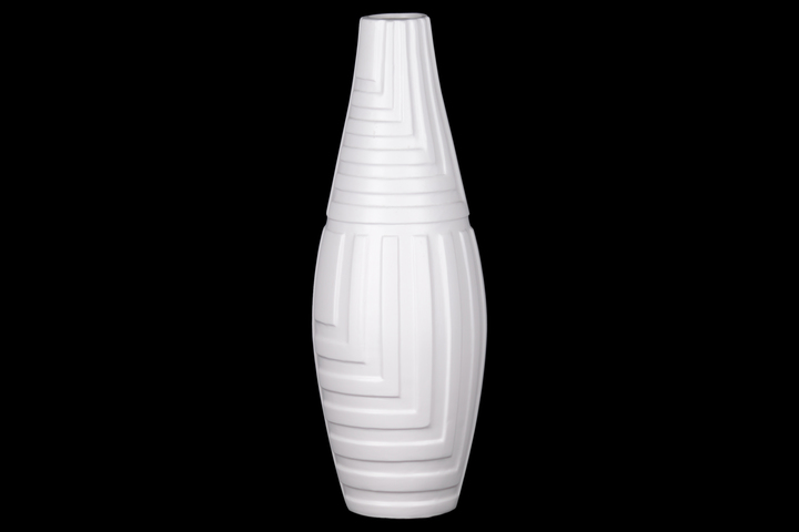 UTC21485 Ceramic Round Vase with Narrow Mouth and Embossed Mazed Line Pattern Design Body Coated Finish White