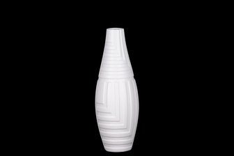 UTC21486 Ceramic Round Vase with Narrow Mouth and Embossed Mazed Line Pattern Design Body Coated Finish White