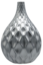 UTC21487 Ceramic Round Bellied Vase with Narrow Lip, Embossed Wave Pattern Design Body Matte Finish Silver