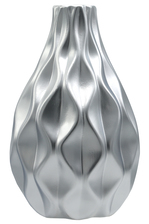 UTC21489 Ceramic Round Bellied Vase with Narrow Mouth and Embossed Wave Design Matte Finish Silver