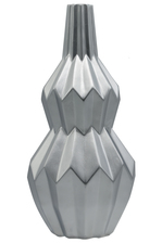 UTC21490 Ceramic Bellied Round Vase with Narrow Lip, Long Neck, Embossed Spike Patterned Design Body Matte Finish Silver