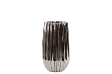 UTC21601 Ceramic Round Vase with Ribbed Sides and Tapered Bottom Polished Chrome Finish Silver