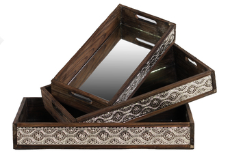 UTC21701 Wood Nesting Tray with Mirror Surface, Pierced Metal Side and Cutout Handle Set of Three Stained Wood Finish Brown