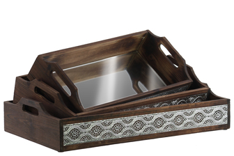 UTC21712 Wood Rectangular Tray with 2 Cutout Handles, Mirror Surface and Wave Design Sides Set of Three Natural Wood Finish Brown