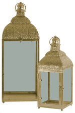 UTC21729 Metal Square Lantern with Ring Handle, Finial, Floral Design Pierced Metal Top and Glass Sides Set of Two Metallic Finish Gold