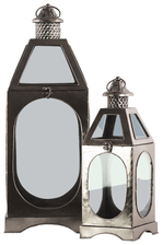 UTC21730 Metal Square Lantern Ring Handle, Pierced Metal Finial Top and Glass Sides Set of Two Metallic Finish Silver
