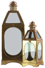 UTC21731 Metal Square Lantern Ring Handle, Pierced Metal Finial Top and Glass Sides Set of Two Metallic Finish Gold