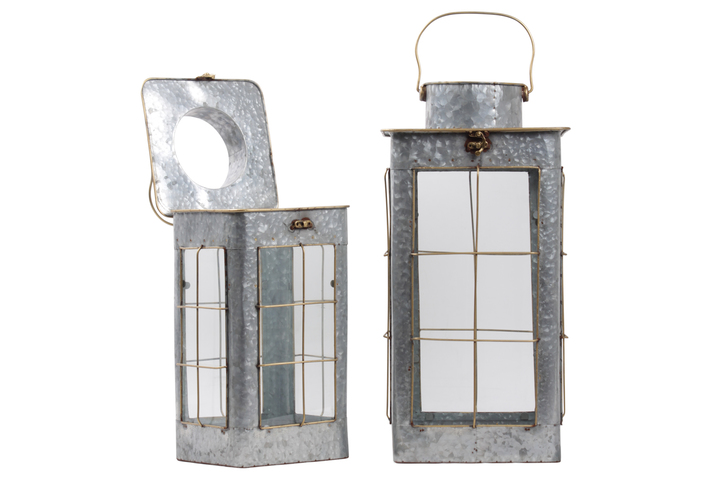 UTC21737 Metal Square Lantern with Steel Handle,Glass sides and Window Grill Design Body Set of Two Galvanized Finish Gray