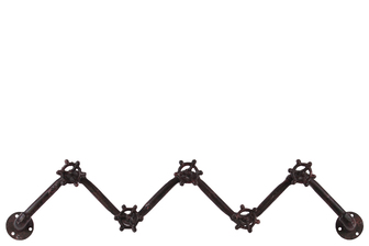 UTC21909 Metal Zig Zag Coat Hanger with Plumbing Theme and 5 Valve Hooks Rust Finish Brown