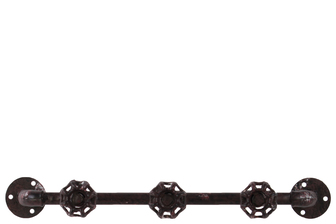 UTC21910 Metal Coat Hanger with Plumbing Theme and 3 Valve Hooks Rust Finish Brown
