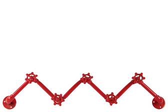 UTC21912 Metal Zig Zag Coat Hanger with Plumbing Theme and 5 Valve Hooks Coated Finish Red