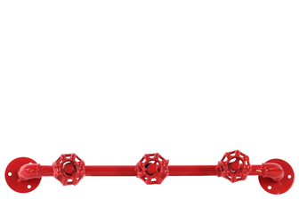 UTC21913 Metal Coat Hanger with Plumbing Theme and 3 Valve Hooks Coated Finish Red