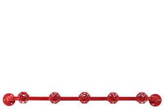 UTC21914 Metal Coat Hanger with Plumbing Theme and 5 Valve Hooks Coated Finish Red