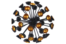 UTC21927 Metal Sea Urchin Ornamental Sculpture Decor Semi-Circle Tip LG Coated Finish Black