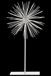 UTC21934 Metal Sea Urchin Ornamental Sculpture Decor on Stand LG Coated Finish White