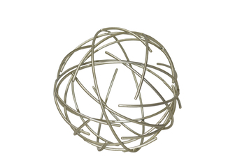 UTC21953 Metal Orb of Dyson Sphere Sculpture with Broken Rings SM Coated Finish Champagne