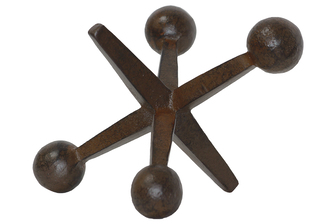 UTC21955 Metal Jacks Sculpture Rust Finish Dark Brown