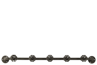 UTC21964 Metal Coat Hanger with Plumbing Theme and 5 Valve Hooks Coated Finish Gunmetal Gray